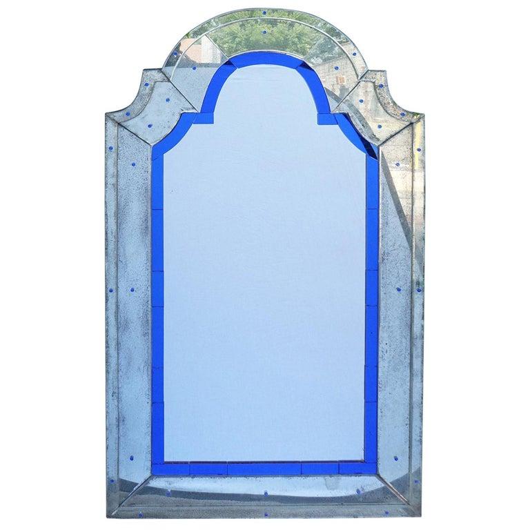 Vintage Art Deco Modernist Venetian Mirror For Sale