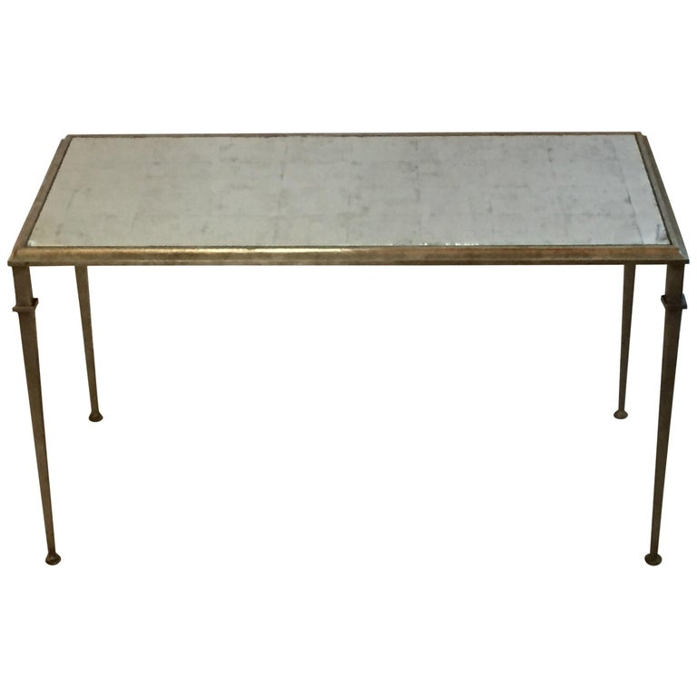 Stylish Silver Leaf And Antique Mirror Lillian August Coffee Tail Table For