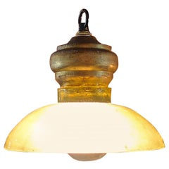 2 French 1960s Single Light Ceiling Pendant Lights with Glass and Wood Shade