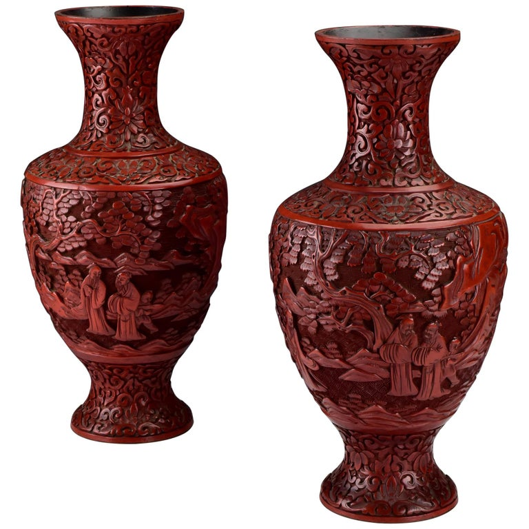Pair of 19th Century Chinese Carved Cinnabar Lacquer Vases with Character Scenes