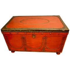 Victorian Brass Bound and Painted Trunk
