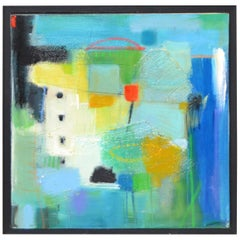 Framed Abstract Acrylic Painting on Canvas