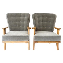 Pair of Guillerme et Chambron French Lounge Chairs for Votre Maison