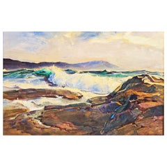 """""""Seascape"""" by Armand Merizon, Michigan Artist, in Blue, White and Burnt Sienna"""