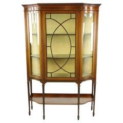 Antique Curio Cabinet, Display Cabinet, Walnut, Serpentine Glass, 1910