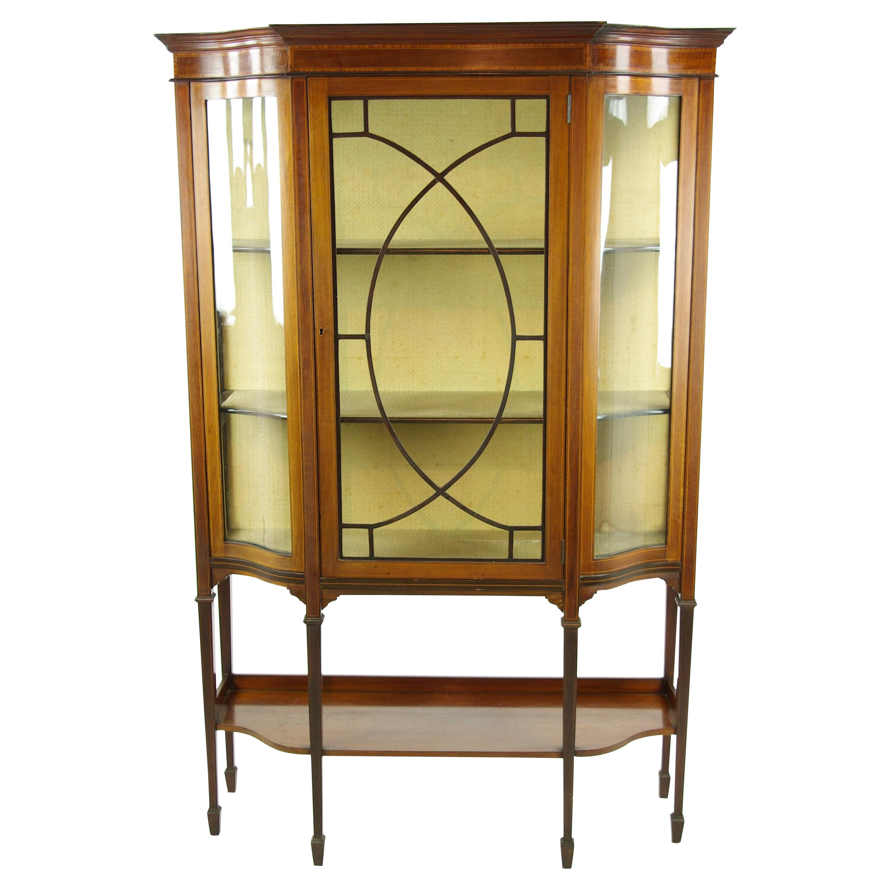 Antique Curio Cabinet, Display Cabinet, Walnut, Serpentine Glass, 1910 For  Sale