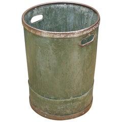 1940s Industrial Vulcanized Fiber Steel Rimmed Handled Wastebasket Bin Trash Can
