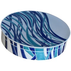 Japanese Kutani Hand Painted Blue Porcelain Decorative Box, Master Artist, 2018