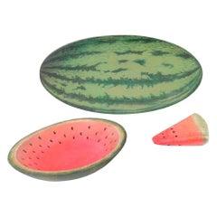Faux Bois Watermelon Hand Painted Trompe l'Oeil Wood Platter & Stone Fruit Set