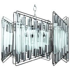 Midcentury Italian Modern Sciolari Trapezoidal Tubular Glass & Steel Chandelier