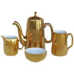 Mixed Gold Luster Coffee Set from Pillivuyt of France and Royal Worchester