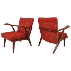 Pair of Lounge Chairs with Sculptural Oak Wooden Frame Czech Republic, 1950s