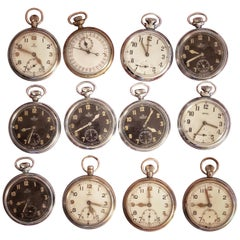 Collection of 12 Pocket Watches Omega & Smith