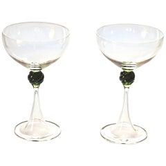 Set of Two Caravaggeschi Martini Murano Glass, Cenedese, Clear Green Signed