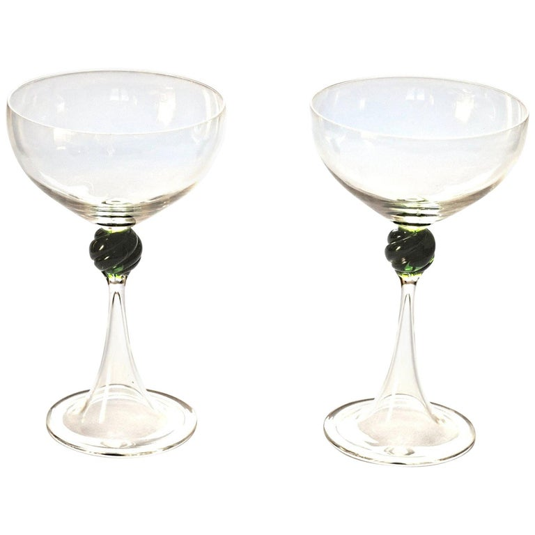 Set of Two Caravaggeschi Martini Murano Glass, Cenedese, Clear Green Signed For Sale