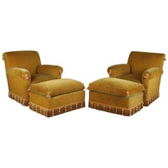 Pair of 1940s French Club Chairs with Matching Ottomans