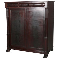 Antique American Empire Carved Mahogany Gentleman's Wardrobe, circa 1910