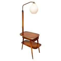 Midcentury Floor Lamp, Plywood and Wood, Germany, 1960s