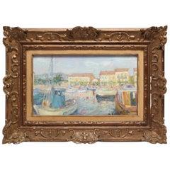 French Impressionist Style Framed Oil Landscape 'St. Raphael In Springtime'