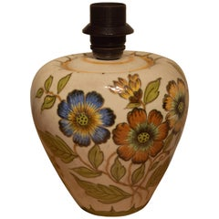 Gouda Holland Dutch Hand Painted Flower Table Lamp