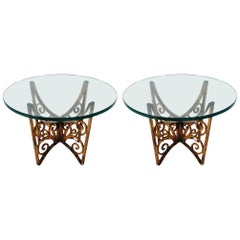 Scrolled Hollywood Regency Gold Gilt Italian Iron and Glass End or Side Tables