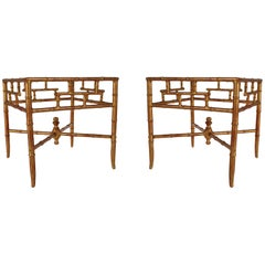 Hollywood Regency Gold Gilt Italian Faux Bamboo and Glass End or Side Tables