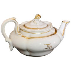 French White Porcelain with Gold Accent Teapot