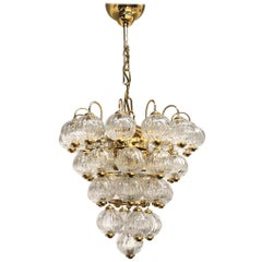 Vintage Gilded Brass Glass Ball Chandelier Lumen Arte, Italy, 1970s