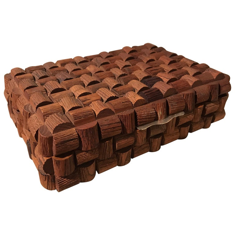 Wood Sculptural Box For Sale