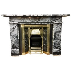 Antique 19th Century Early Victorian Grey Marble Fireplace Surround