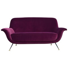 Italian Midcentury Sofa or Loveseat Reupholstered with Purple Velvet, 1950s