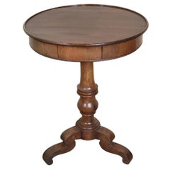 19th Century Italian Louis Philippe Walnut Round Side Table or Pedestal Table