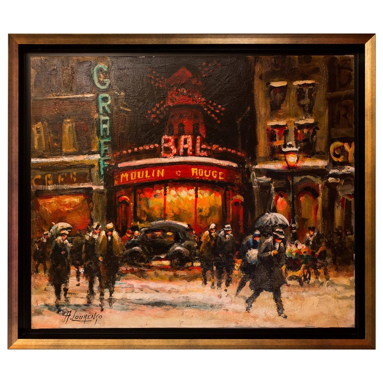 Lourenco Armand Oil on Canvas Paris View of the Moulin Rouge For Sale