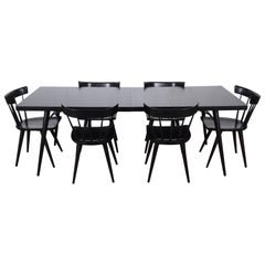 Paul McCobb for Planner Group Ebonized Extension Dining Table & Six Chairs