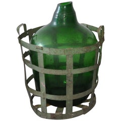 Hand Blown Demijohn in Vintners Metal Basket, 1920