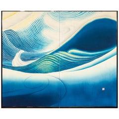 Japanese Two-Panel Screen, Across the Ocean 'Kai Kou'