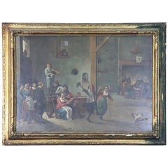 18th Century Flemish Oil Painting on Wood Table Interior Scene with People