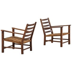 1940s Easy Chairs in Oak and Hemp String