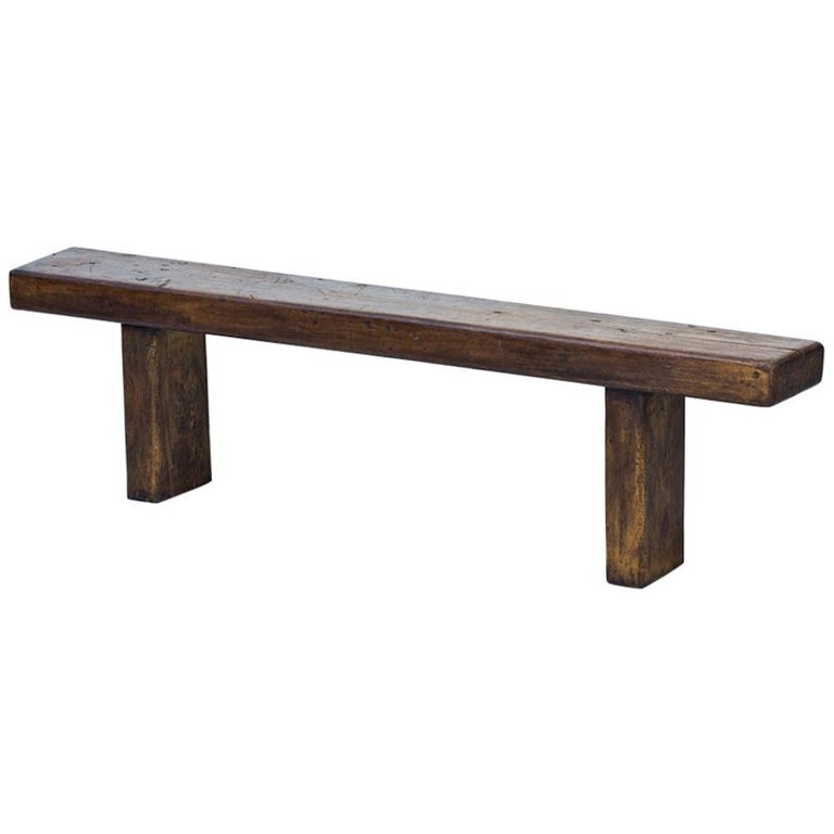 Minimalist French Rustic Bench in Solid Walnut