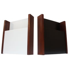 Pair of Peter Pepper Black and White Wall-Mounted Magazine Holders