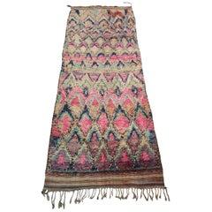 Colorful Moroccan Wool Talsint Runner Rug, circa 1975 Pink Purple Rug Berber
