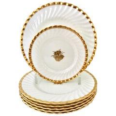 """1950s English Bone China & 22-Karat Gold """"Gold Crocus"""", Minton Set of 18 Pieces"""