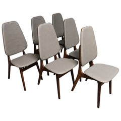 Six Arne Hovmand-Olsen Danish Teak Dining Chairs with Leather Upholstery
