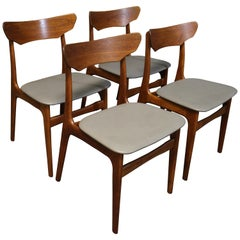 Four Danish Teak Dining Chairs by Schionning and Elgaard for Randers