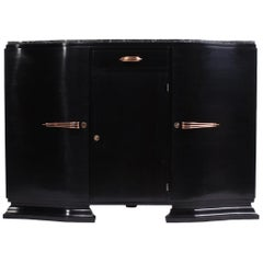 Art Deco Sideboard in Black Piano Lacquer, circa 1930