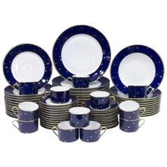 Fabergé Porcelain Dinner Set for 12, Cobalt Blue Galaxy Pattern