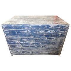 Old Vintage Painted Blue White Chest