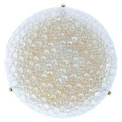 Massive Hillebrand Textured Murano Bubble Glass Flush Mount, 1960s, Germany
