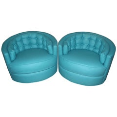 Pair of Tufted Swivel Lounge Club Chairs in Turquoise Wool