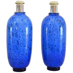 Pair of Italian Murano Glass Table Lamps with Metallic Effects, 1970s